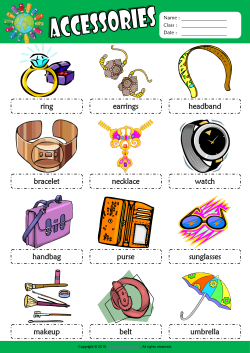 Accessories Picture Dictionary ESL Vocabulary Worksheet