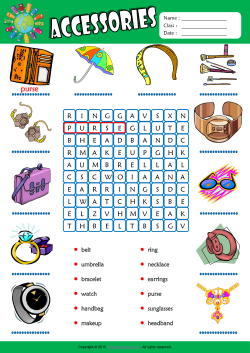 Accessories Word Search Puzzle ESL Vocabulary Worksheet