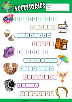 Accessories Missing Letters in Words ESL Vocabulary Worksheet