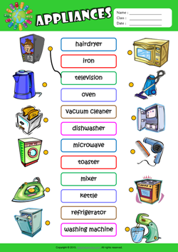 Appliances ESL Matching Exercise Worksheet For Kids