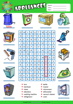 Appliances Word Search Puzzle ESL Vocabulary Worksheet