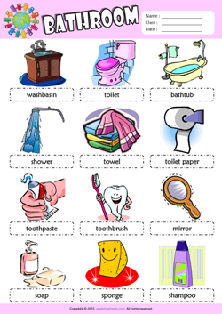 Bathroom Picture Dictionary ESL Vocabulary Worksheet