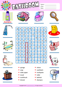 Bathroom Word Search Puzzle ESL Vocabulary Worksheet