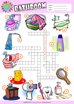 Bathroom Crossword Puzzle ESL Vocabulary Worksheet