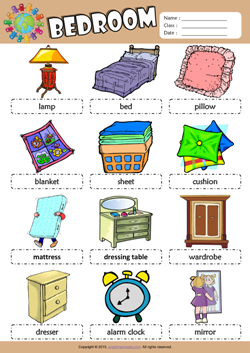 Bedroom Picture Dictionary ESL Vocabulary Worksheet