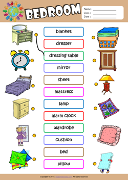 Bedroom ESL Printable Worksheets For Kids 1
