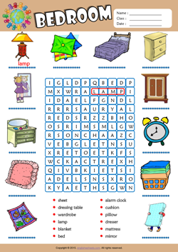 Bedroom Word Search Puzzle ESL Vocabulary Worksheet