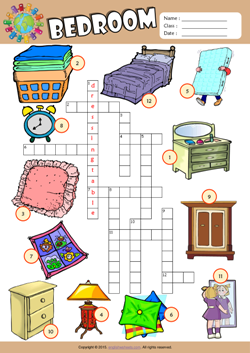 Bedroom Crossword Puzzle ESL Vocabulary Worksheet