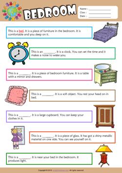 Bedroom Esl Printable Worksheets For Kids 2