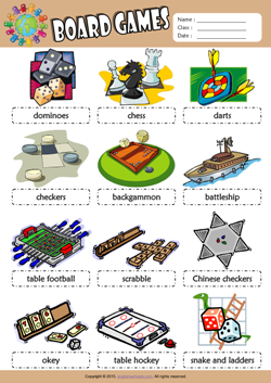 Board Games Picture Dictionary ESL Vocabulary Worksheet