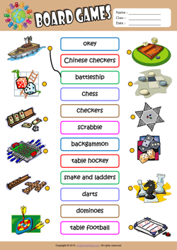 Board Games ESL Matching Exercise Worksheet For Kids