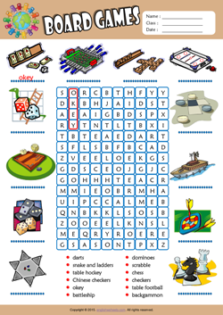 Board Games Word Search Puzzle ESL Vocabulary Worksheet