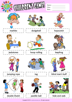 Children Games Picture Dictionary ESL Vocabulary Worksheet
