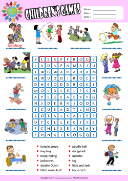 Children Games Word Search Puzzle ESL Vocabulary Worksheet