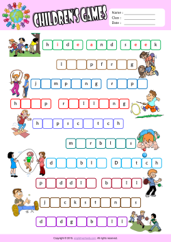 Children Games Missing Letters in Words ESL Vocabulary Worksheet