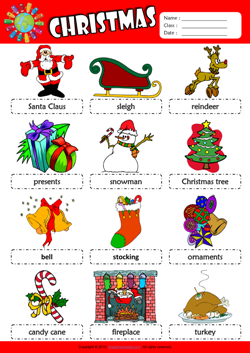 Christmas Picture Dictionary ESL Vocabulary Worksheet