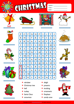 Christmas Word Search Puzzle ESL Vocabulary Worksheet