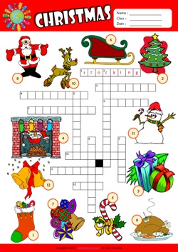 Christmas Crossword Puzzle ESL Vocabulary Worksheet
