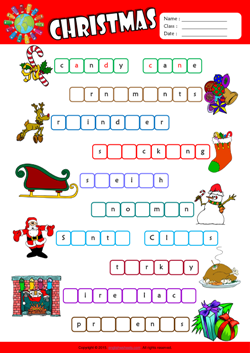 Christmas Missing Letters in Words ESL Vocabulary Worksheet