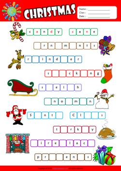 christmas missing letters in words esl vocabulary worksheet