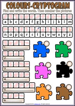 Colors Esl Vocabulary Cryptogram Puzzle Worksheet For Kids