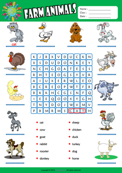 Farm Animals Word Search Puzzle ESL Vocabulary Worksheet