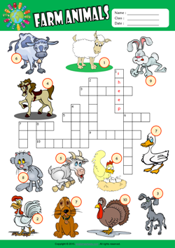 Farm Animals Crossword Puzzle ESL Vocabulary Worksheet