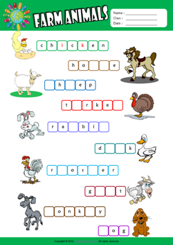 Farm Animals Missing Letters in Words ESL Vocabulary Worksheet