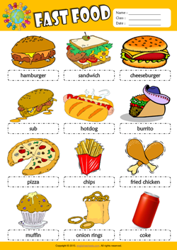 Fast Food Picture Dictionary ESL Vocabulary Worksheet