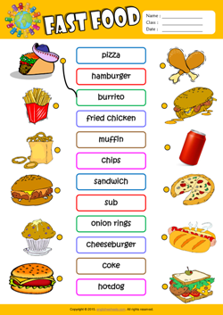 math worksheet : fast food esl printable worksheets for kids 1 : Esl Worksheets For Kindergarten