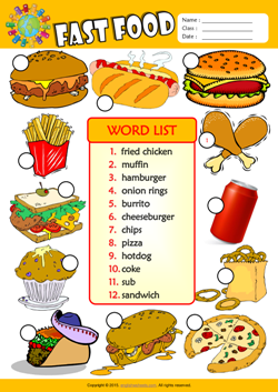 math worksheet : fast food esl printable worksheets for kids 3 : Esl ...