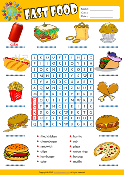 Fast Food Word Search Puzzle ESL Vocabulary Worksheet