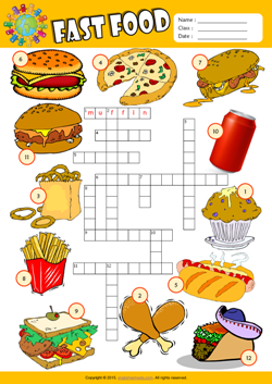Fast Food Crossword Puzzle ESL Vocabulary Worksheet