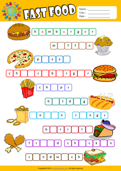 Fast Food Missing Letters in Words ESL Vocabulary Worksheet