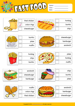 Fast Food ESL Multiple Choice Worksheet For Kids