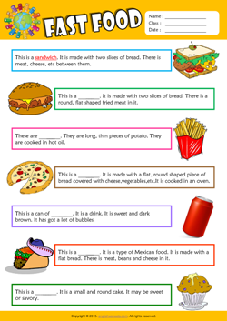Fast Food Find the Words ESL Vocabulary Worksheet