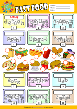 Fast Food Unscramble Words ESL Vocabulary Worksheet