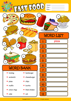 Fast food esl printable worksheets for kids 3 fast food esl find and write the words worksheet for kids forumfinder Choice Image