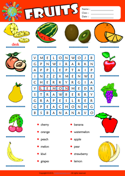 Fruits Word Search Puzzle ESL Vocabulary Worksheet