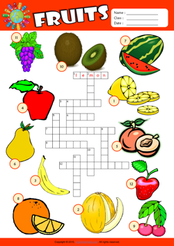 Fruits Crossword Puzzle ESL Vocabulary Worksheet