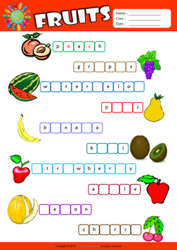 Fruits Missing Letters in Words ESL Vocabulary Worksheet