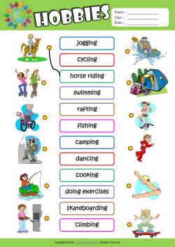 Printables Exercise Worksheets hobbies esl printable worksheets for kids 1