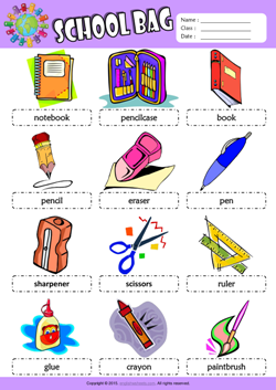 Schoolbag Picture Dictionary ESL Vocabulary Worksheet