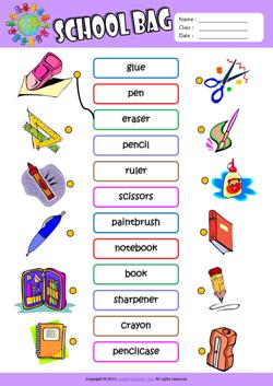 Worksheets Exercise Worksheets For Kids schoolbag esl printable worksheets for kids 1 matching exercise worksheet kids