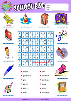 Schoolbag Word Search Puzzle ESL Vocabulary Worksheet