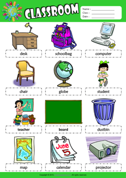 Classroom Picture Dictionary ESL Vocabulary Worksheet