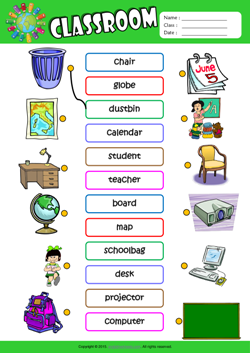 Classroom ESL Matching Exercise Worksheet For Kids