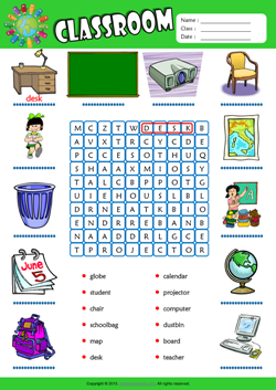 Classroom Word Search Puzzle ESL Vocabulary Worksheet