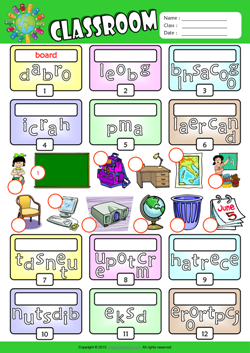 Classroom Unscramble Words ESL Vocabulary Worksheet