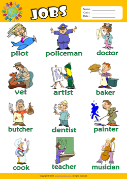Jobs Picture Dictionary ESL Vocabulary Worksheet